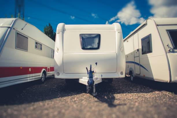 Pre Owned Travel Trailers stock photo