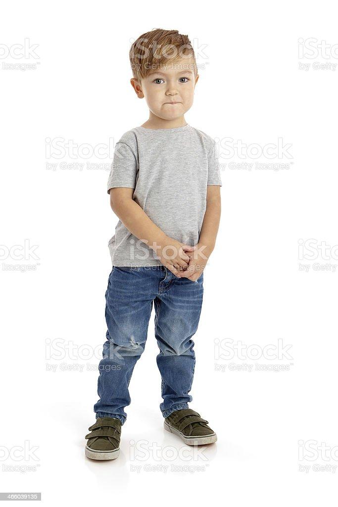 Pre School Boy on White Background stock photo