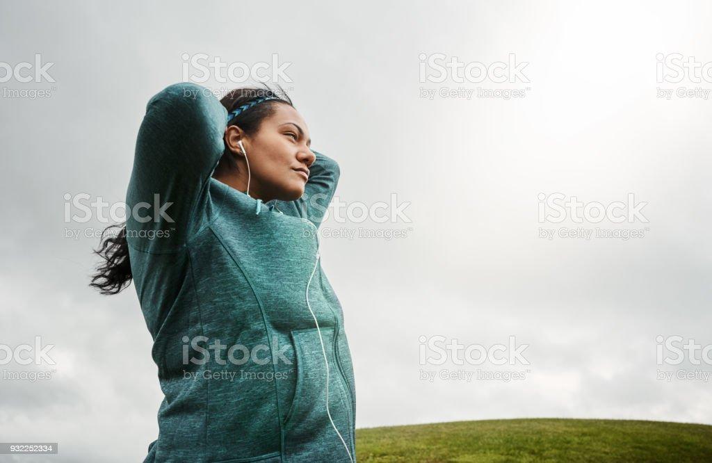 Pre workout mental prep stock photo
