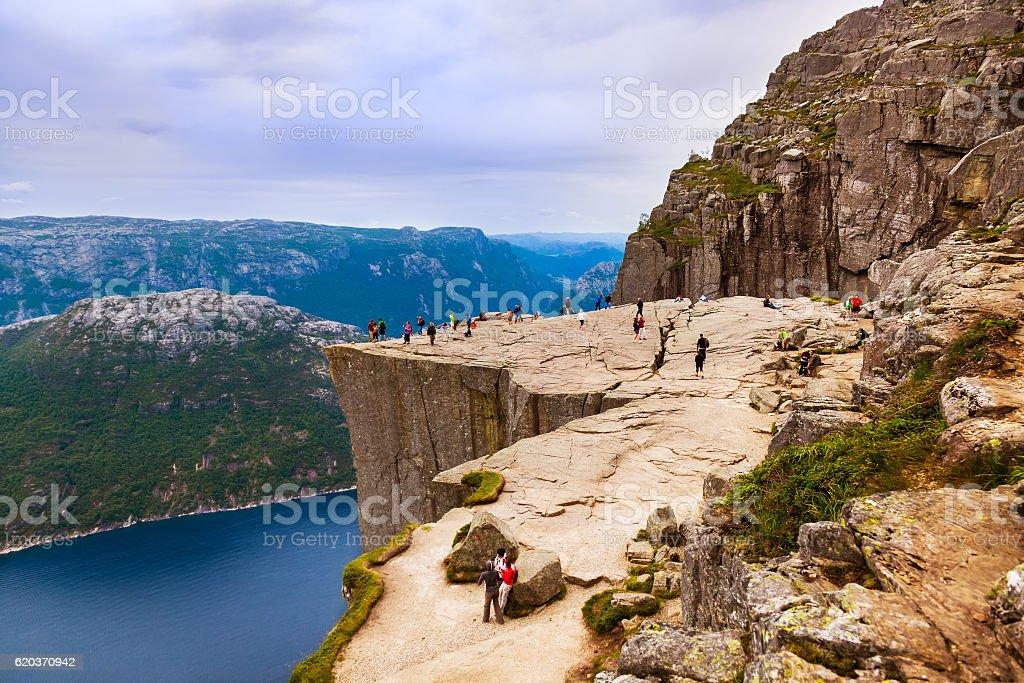 Rock Preachers Ambona na Lysefjord w Norwegii Fiord zbiór zdjęć royalty-free