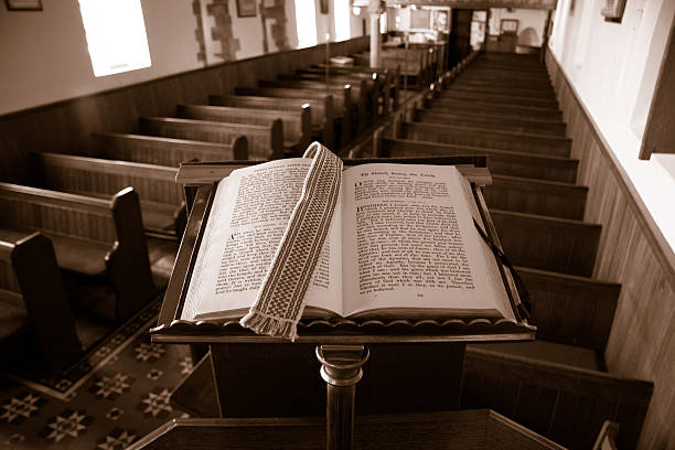 Preaching from the bible stock photo