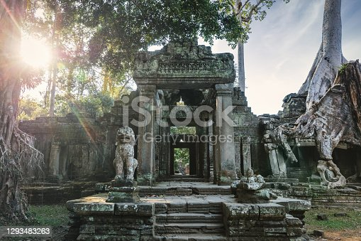 Preah Khan Temple backlit from moody Sunset Sunlight.  Ancient Khmer Temple in the Angkor Wat Complex - Archaeological Area. Preah Khan Temple, Angkor Wat Archaeological Area, Siem Reap, Cambodia, Southeast Asia, Asia.