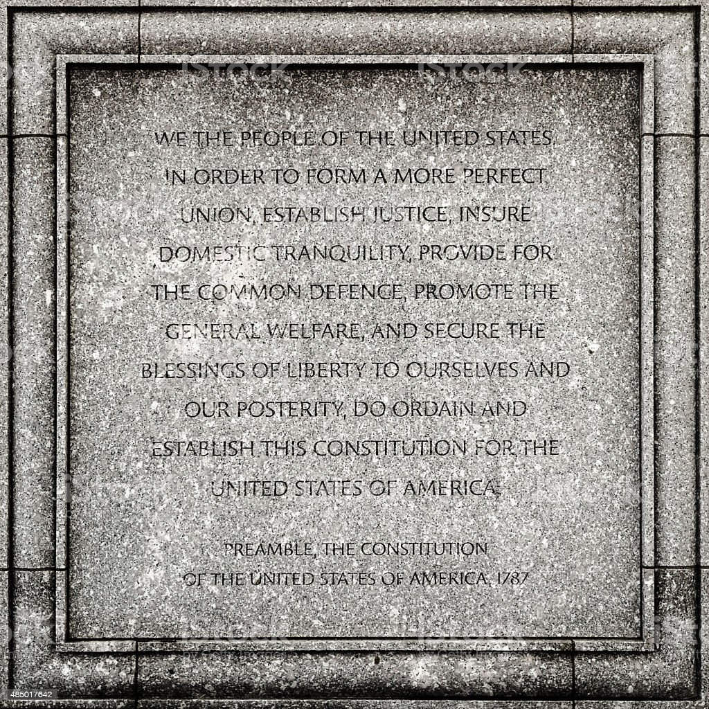 Preamble of the USA constitution stock photo