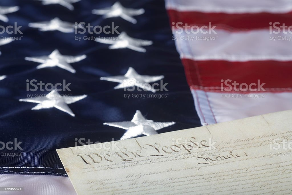 Preamble on American flag royalty-free stock photo