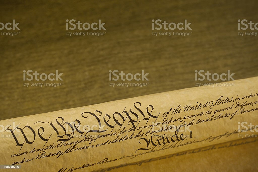 Preamble to the Constitution United States of America on Parchment stock photo