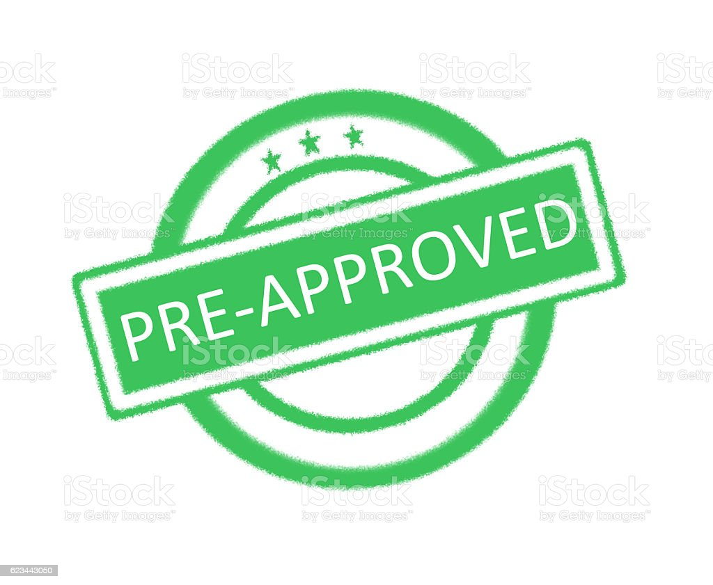 Pre-Approved written on green rubber stamp stock photo