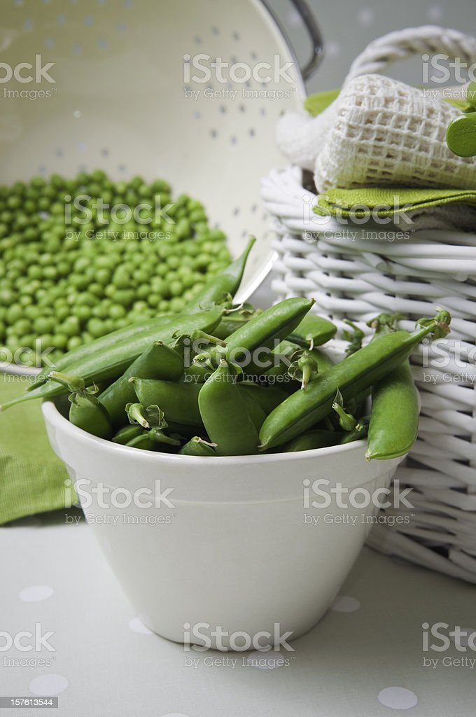 Preapred peas ready for cooking. royalty-free stock photo