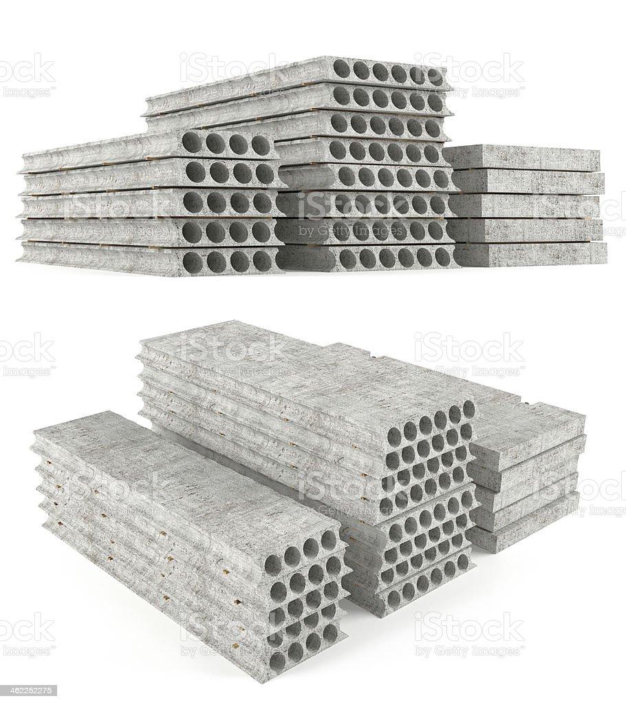 Precast concrete composite hollow core deck slabs. stock photo