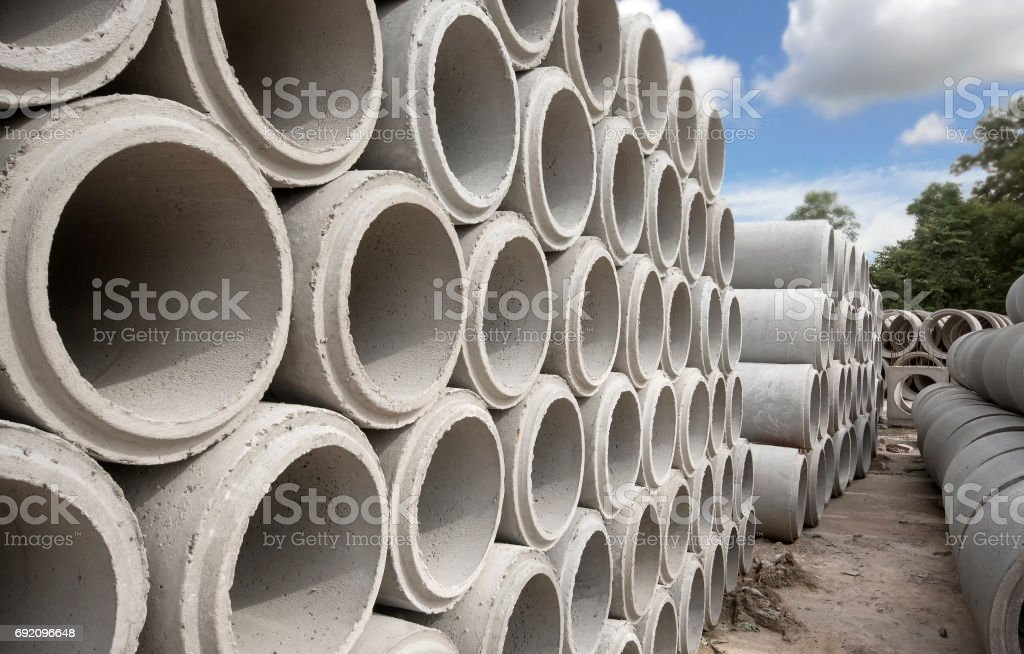 precast concrete water drain pipe stock photo