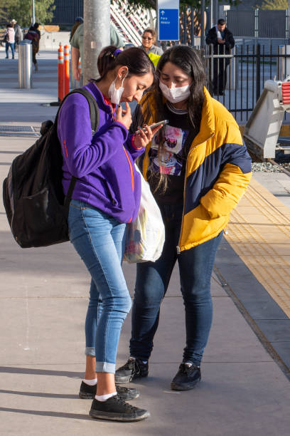 Precautionary face masks at the border for coronavirus stock photo