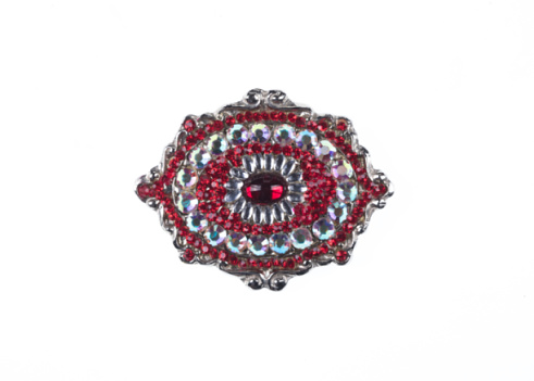 precious brooch with ruby isolated on white background