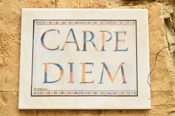 Precious Ceramic Plate Of Carpe Diem In Medinaceli. March 19, 2016. Architecture Travel History. stock photo