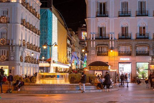 Madrid, Spain; 12 02 2020. Preciados street seen from the Puerta del Sol square next to one of its two fountains.