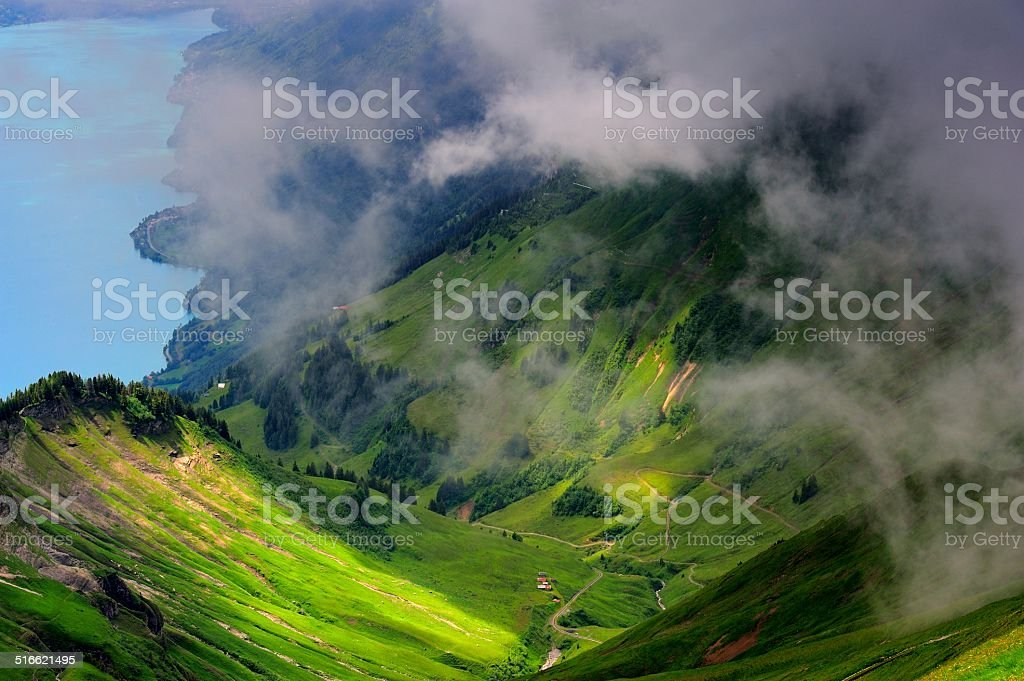 precipitous ridge and lake in Switzerland 04 stock photo