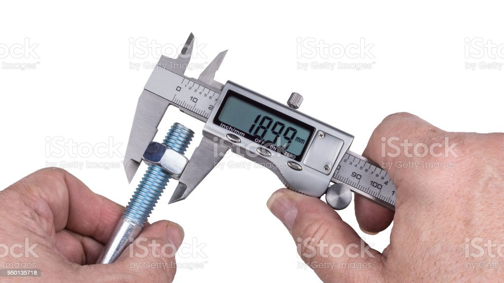 Precise measurement of bolt with thread and nut by digital caliper. Isolated on white background stock photo