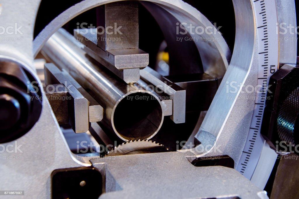 Precision circular saw for metal pipes stock photo