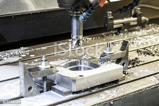 istock Precision industrial CNC machining of metal detail by mill at factory 875746734