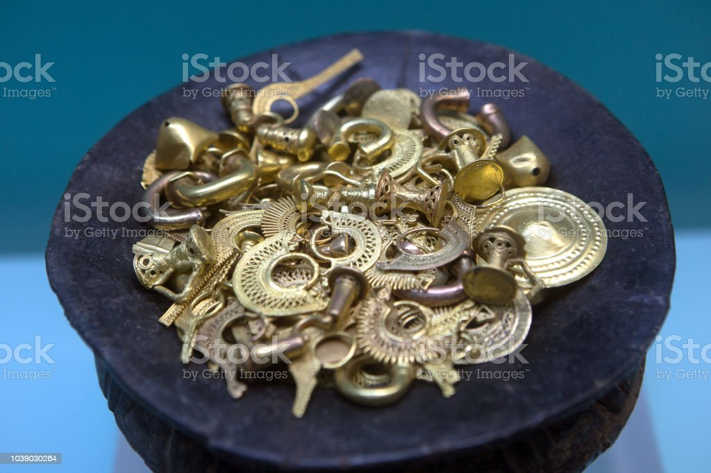 Pre-Colombian gold pieces stock photo