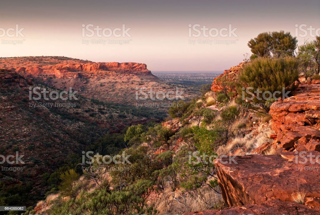 Pre-dawn light from top of King's Canyon, Australia stock photo