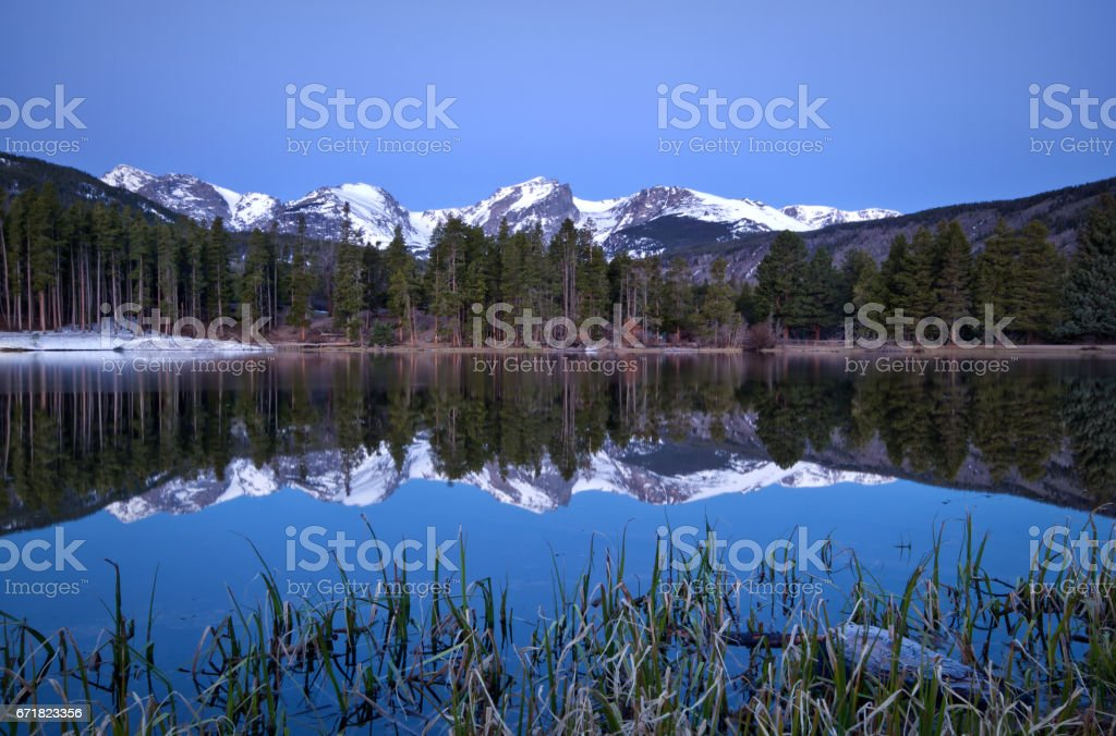 Pre-Dawn shot of Sprague Lake in Rocky Mountain National Park stock photo