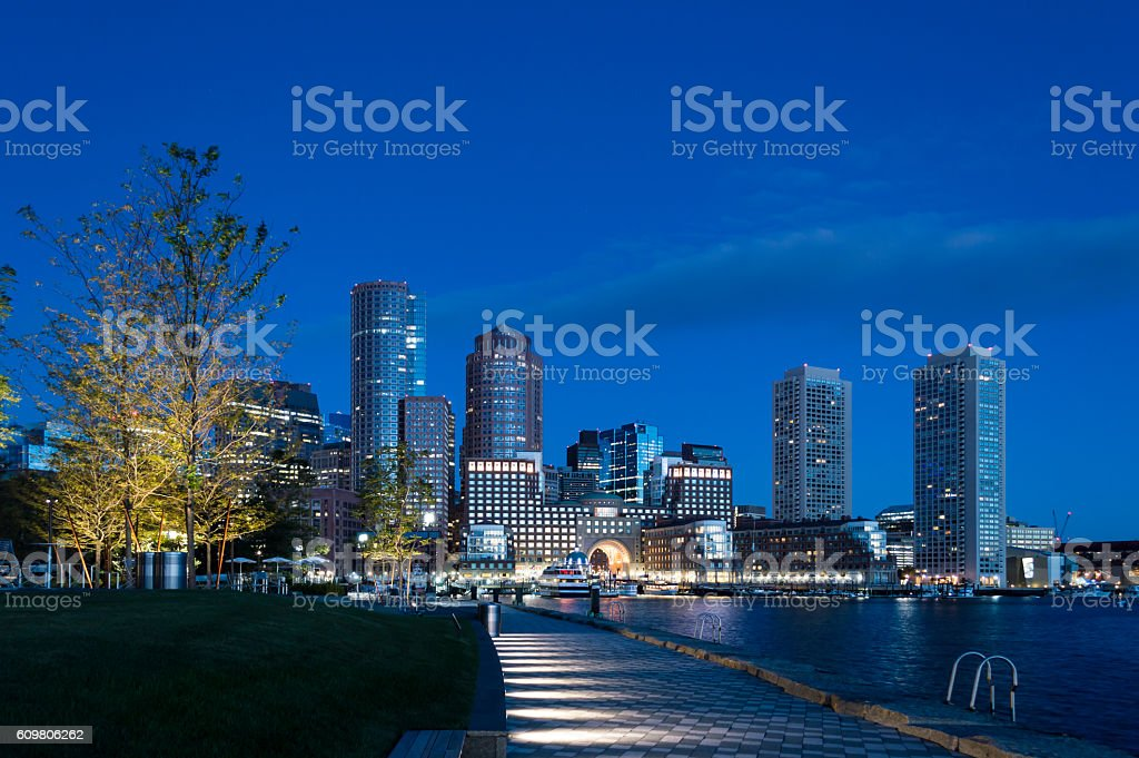Pre-dawn view of Rowes Wharf stock photo