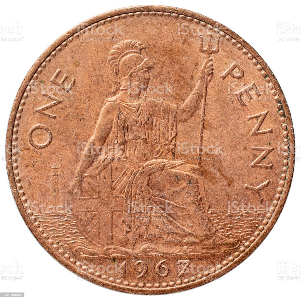 Old penny reverse 1967 Britannia stock photo