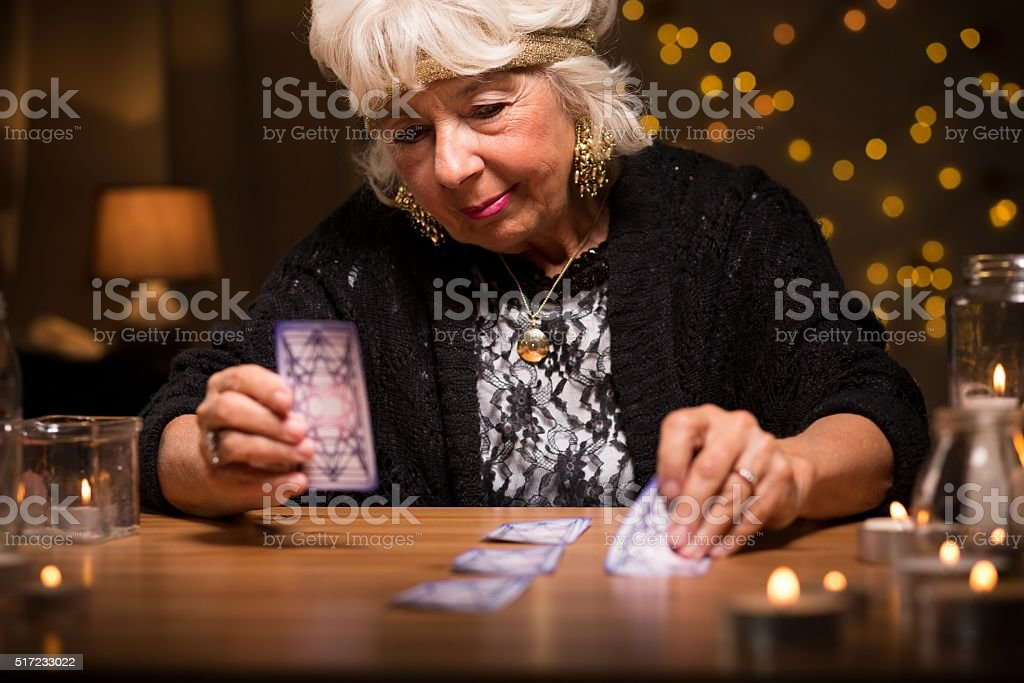 Predicting future from cards stock photo