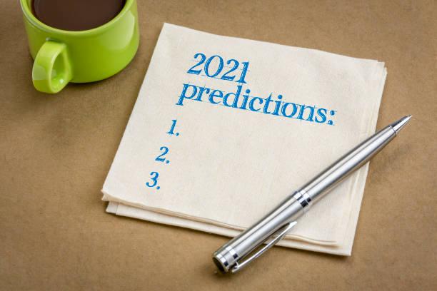 2021 predictions text on a napkin stock photo