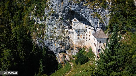A predjama castle from a top view of the rock where its build