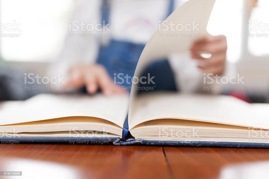 Preeschooler Girl Reading Book stock photo