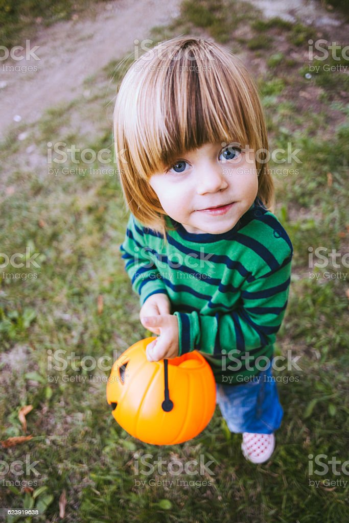 7ac7e17db Preety Boy Holding Plastic Pumpkin Toy Stock Photo & More Pictures ...