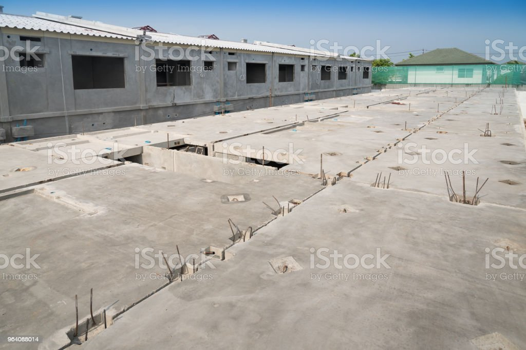 Prefabricated concrete floor slab panel on construction site. - Royalty-free Activity Stock Photo