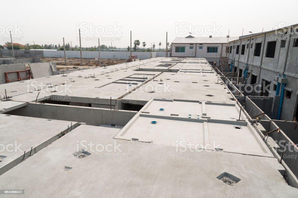 Prefabricated concrete floor slab panel on construction site. - Royalty-free Activity Stock Photo