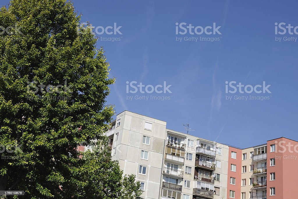 prefabricated house with a tree royalty-free stock photo