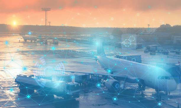 preflight voorbereiding van het vliegtuig voor vertrek. conceptuele vertegenwoordiging van het gebruik van moderne technologie en kunstmatige intelligentie om het vliegtuig zonder menselijke interventie voor te bereiden - luchtvaartindustrie stockfoto's en -beelden