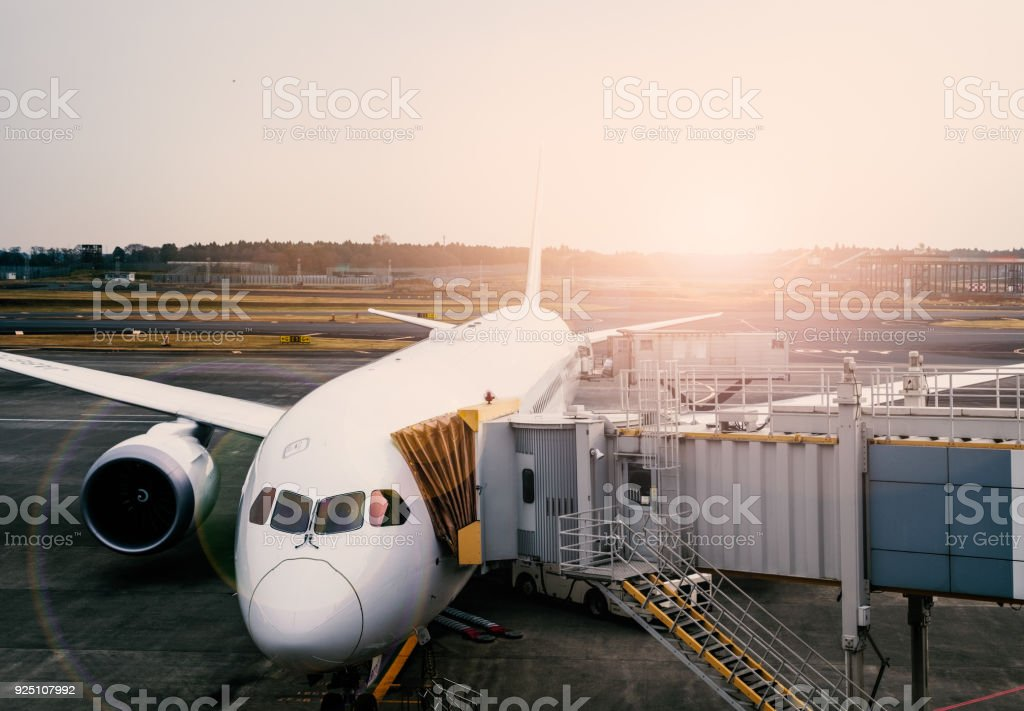 Pre-flight, refueling and Loading cargo service of airplane. stock photo