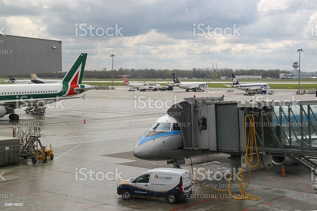 Preflight service of the planes in Warsaw Chopin Airport, Poland stock photo