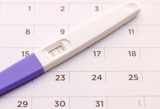 Pregnancy test on calendar background. Pregnancy care concept. stock photo