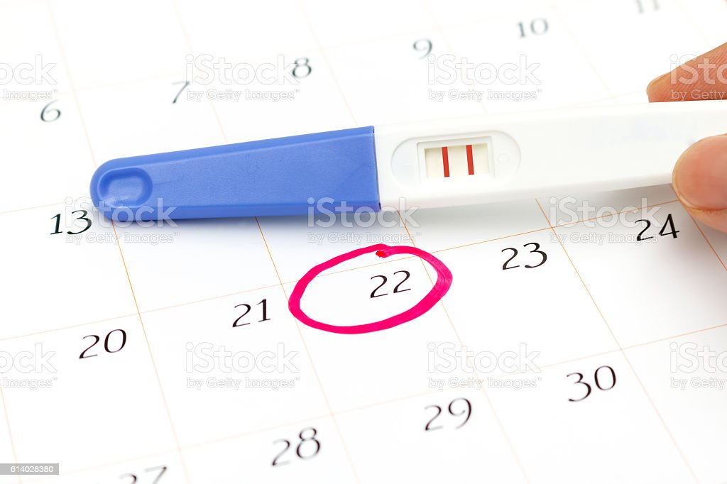 Pregnancy test with positive result lying on calendar stock photo