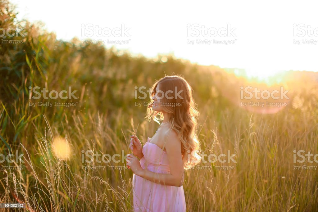 Pregnant blonde woman standing in sun rays with steppe background, wearing pink dress - Royalty-free Adult Stock Photo