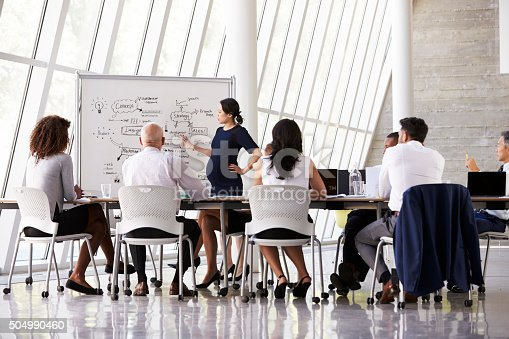 istock Pregnant Businesswoman Leads Boardroom Meeting 504990460