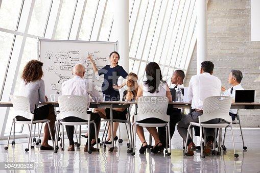 812513444istockphoto Pregnant Businesswoman Leads Boardroom Meeting 504990528