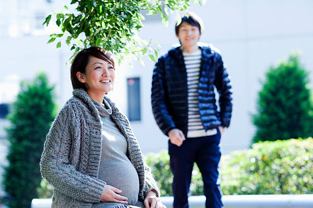 Pregnant couple stock photo