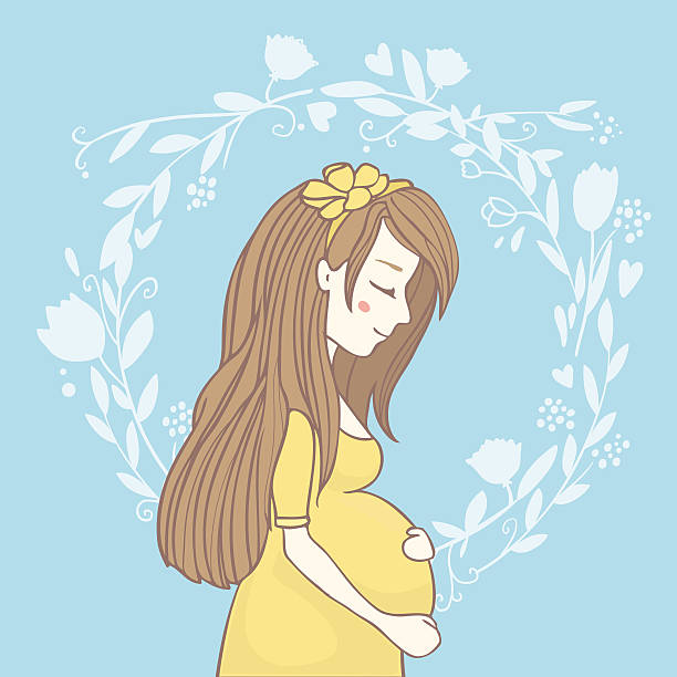 Pregnant girl on floral background stock photo