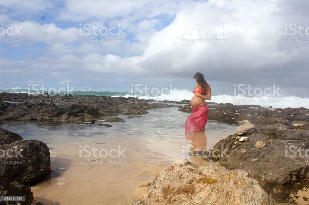 Pregnant in Hawaii stock photo