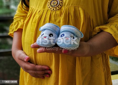istock Pregnant Indian woman baby shower photo shoot poses 1196819599
