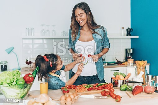 Pregnant Mother and her daughter playing in the kitchen