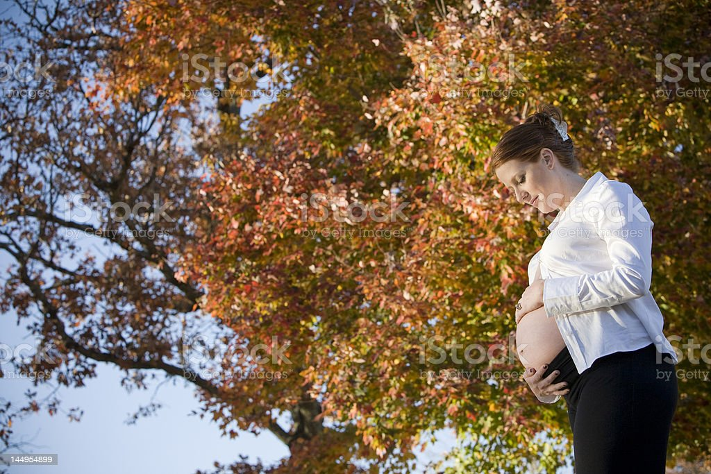 Pregnant Red Head in Fall royalty-free stock photo