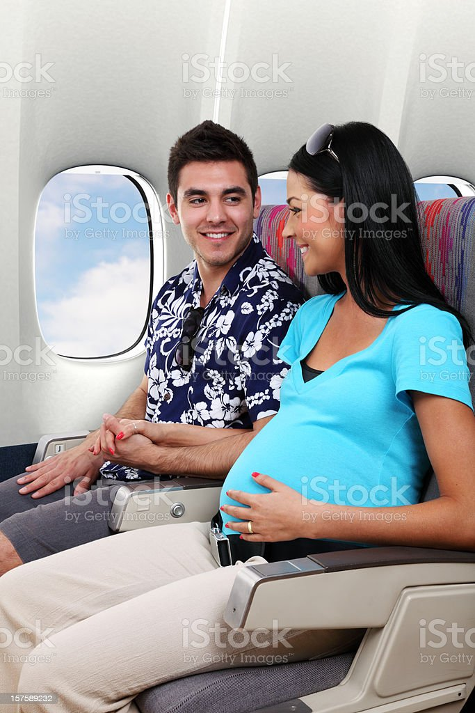 Pregnant Wife Traveling royalty-free stock photo