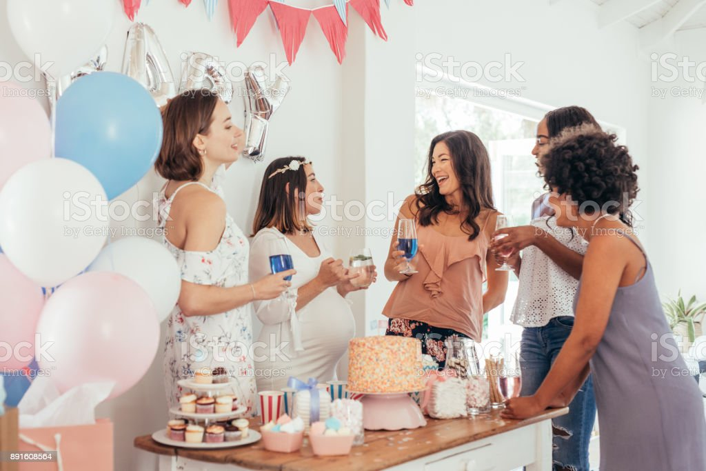 Pregnant Woman Celebrating Baby Shower Party With Friends Stock Photo Download Image Now Istock